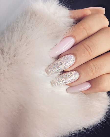 Glitter, Coffin Nails, Nude Nails, Nudes, Nail