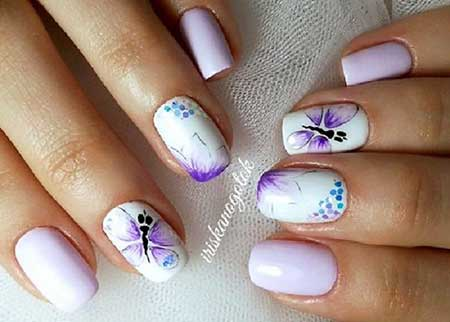 Pastel Nail, Spring Nails, Butterfly Nail Art Designs, Simple, Butterfly