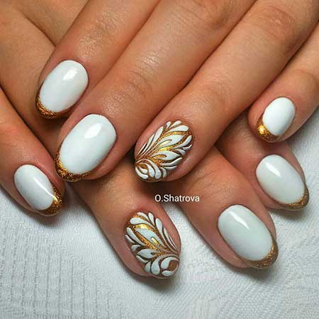 Manicures, Manicure White With Gold, Oval, French, Gold, Best