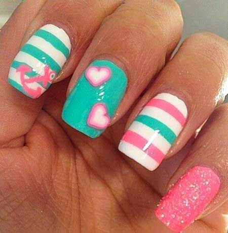 Summer Nails, Pink, Polka Dots, Anchor Nail, Top Nail Designs 2017, Summer, Ideas