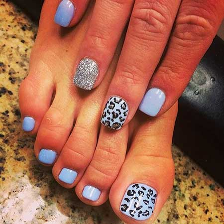 Blue, Gel Nails, Summer Nails, Toes, Accent, Single, Blue