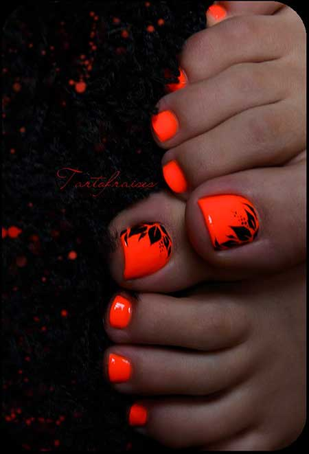 Halloween Nails, Halloween, Orange Nails, Orange, Neon Toe Nail Designs, Art
