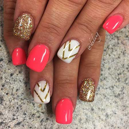 Gold Nail, Gold, Nail Designs 2017 Summer, Shine, Metallic, Pink, Art