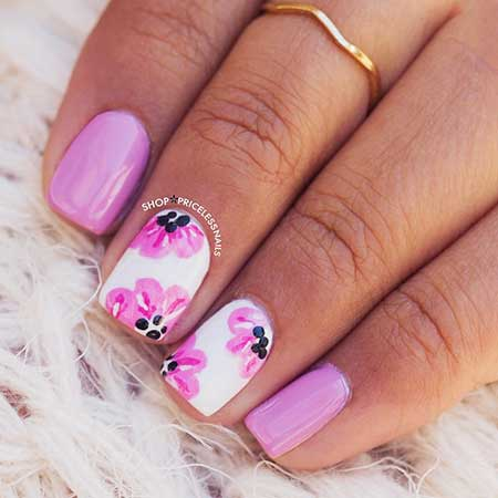 Pink Nails, Pink, Flower Nail, Nail Art Summer 2017, Floral, Black, Pink