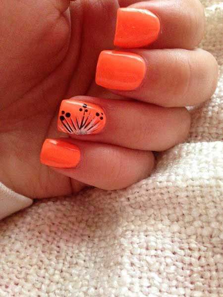 White Nail, Jamberry, Orange Nails, Orange, Summer Nails
