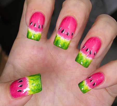 Nails, Watermelon, Summer Nails, Strawberry Nails