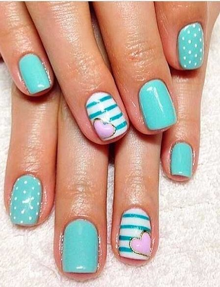 Pastel Nail, Teal Nails, Summer Nails, Gel Nails, Summer Nail Art 2017, Teal