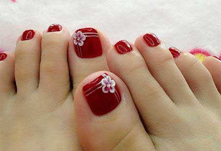 Toe Nail, Pedicures, Toenails, Red, Red Color Nail Art