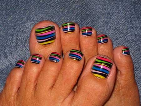 Tribal Nail, Toe Nail, Rainbow Nails, Toe Nail Art Designs