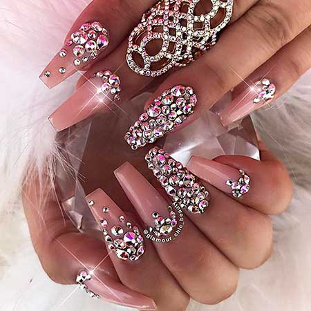 Coffin Nails, Coffin Nails With Rhinestones, Rhinestone, Coffin, Blush