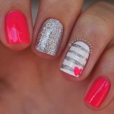 Summer Nails, Anchor Nail, Nautical Nail, Pink, Glitter Nail