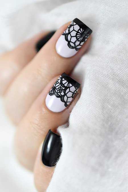 White Nail, Lace Nail, Black White, Lace Nails, Lace, Art, Nail