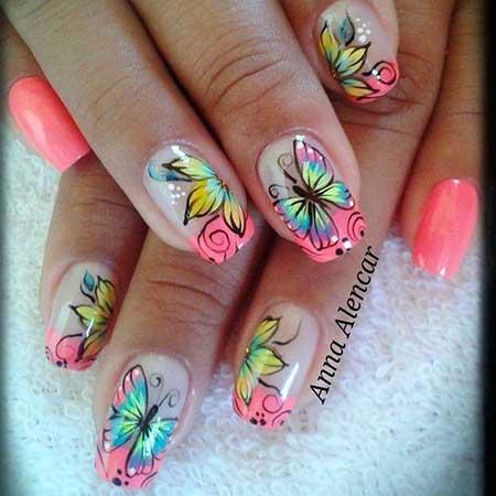 Butterfly Nail, Spring Nails, Butterflies Retty Nail, Butterfly Nail Designs