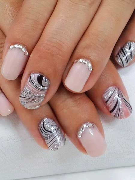 Pretty Nail, Wedding Nails, Glitter, Nail Art With Rhinestones