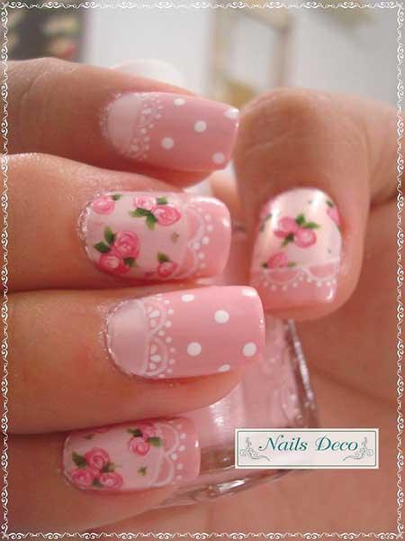 Pink, Pink Nails, Flower Nail, Valentine Nail