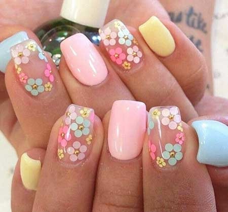 Flower Nail, Summer Nails, Design, Pastel Flower Nail Art, Spring