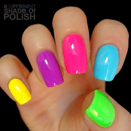 Summer Nails, Ombre Nail, Pink, Rainbow Nails, Polish, Neon Nail