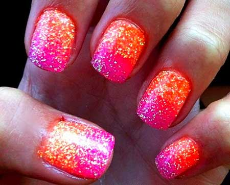 Glitter, Polish, Summer Nails, Leopard Nails, Pink, Hot Pink Glitter Nails