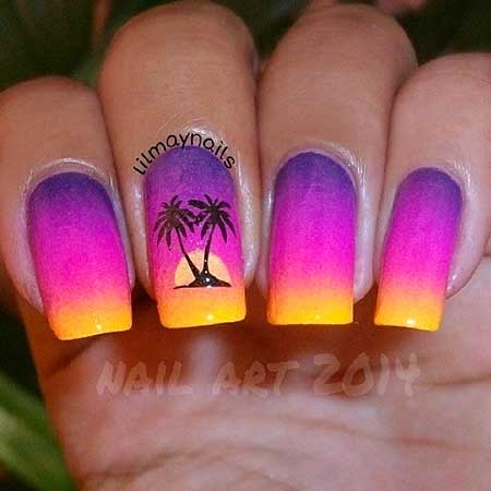 Summer Nails, Beach Nails, Palm Trees, Nails Nailart, Home, Ombre, Art, Nail