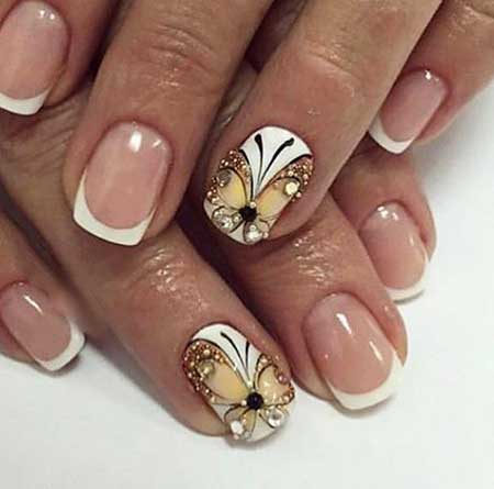 Wedding Nails, Pretty Nail, Nude Nails, Nails Butterfly, French, Art, Nail