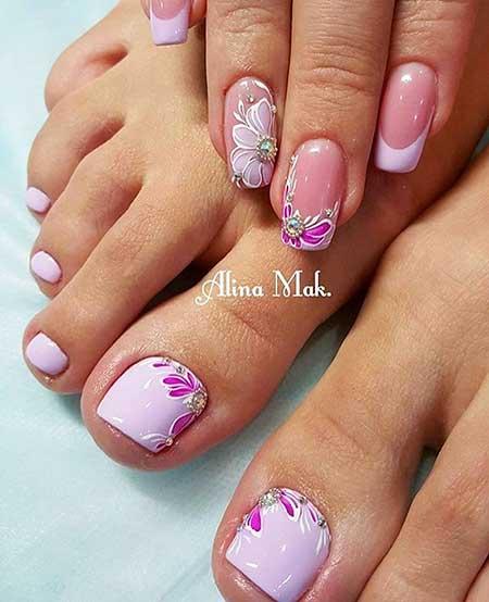 Flower Nail, Pink, Design, Toe Nail, Nail
