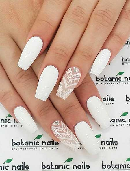 White Nail, Coffin Nails, Pink Nails, White Nail Designs 2017, Simple, Stunning