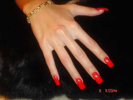Red, Shellac, Manicures, French Manicure, Gel, Acrylic Nails, Square Red Nails, Red