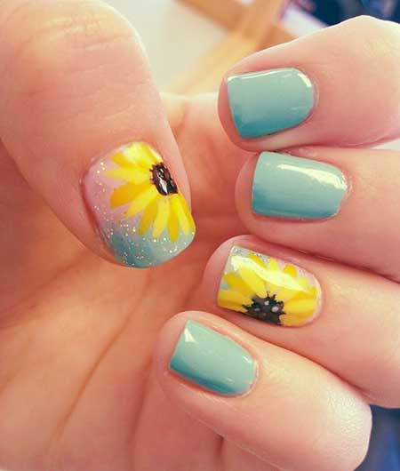 Sunflower Nails S, Sunflowers, Rainbow Nails, Neon Nail