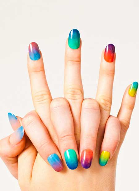 Rainbow Nails, Ombre Nail, Color, Summer Nails, Nail Polish