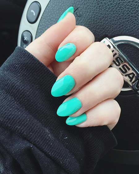 Blue Nails, Blue, Mint, Polish, Nail Polish, Summer Almond Nail Designs