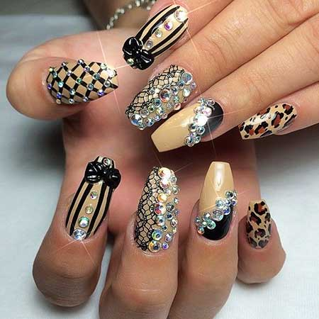 Coffin Nails, Stiletto Nails With Rhinestones, Rhinestones, Black, Nail