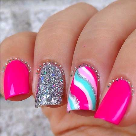 Summer Nails, Anchor Nail, Nautical Nail, Pink, Pink and Teal Nail Art, Night