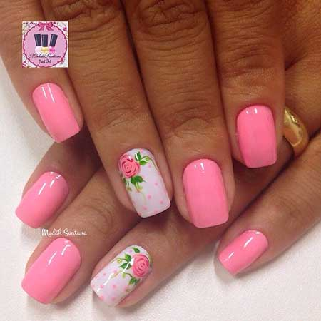 Pink, Pink Nails, Polka Dots, Summer Nails, Night,