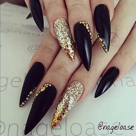 Stiletto Nail Design, Gold Nails Nail Black