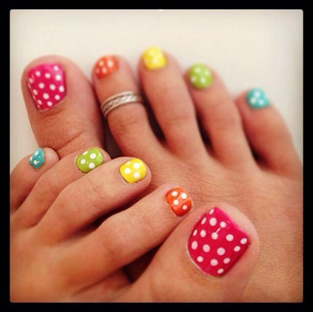Toe Nail Design for Summer, Nail Toe Dot Polka