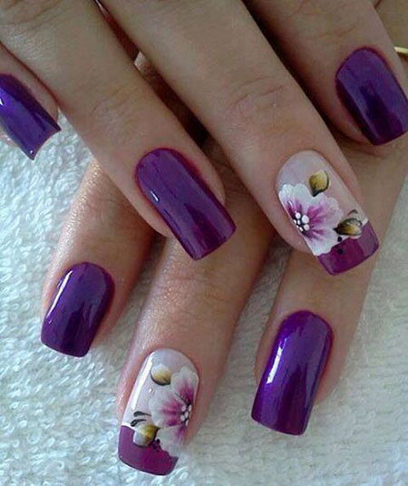 Nails Purple Nail Flower