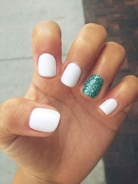 Nails Nail White Glitter