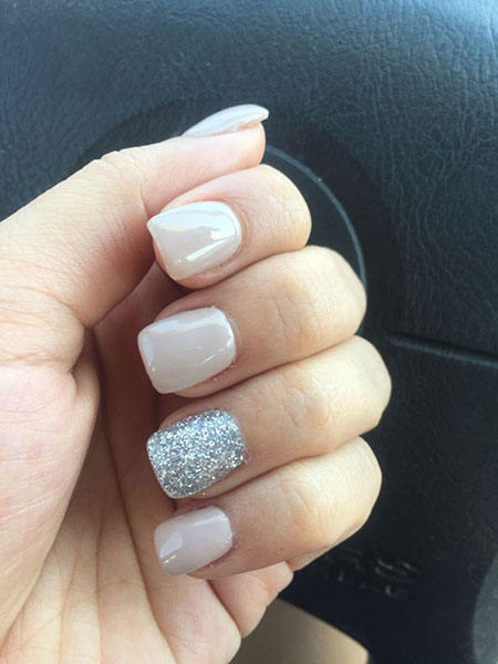 Nail Silver Simple Glitter