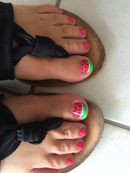 Nail Toes Art Pink