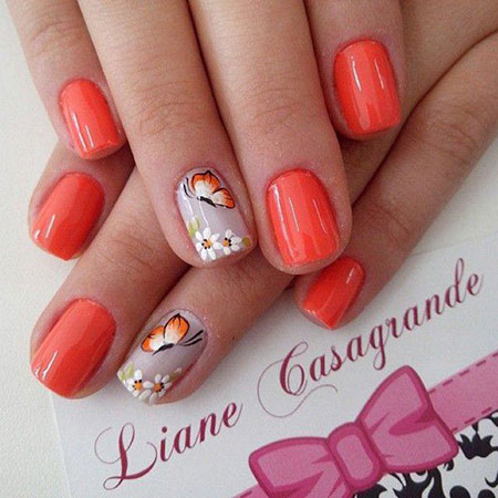 Nails Nail Orange Flowers