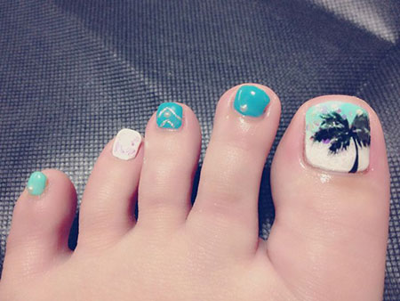 Tree Toe Nail Summer Design, Toe Nail Summer Tree