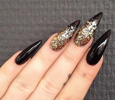 Black Glitter Nail Nails