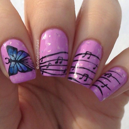 Pink Base Butterfly Nail Art, Nail Art Design Photo