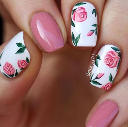 White Nails with Pink Flowers, Nail Nails Art But