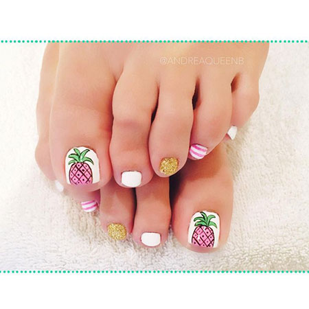 Toe Nails with Pineapple Design, Nail Toe Summer Nails