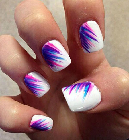Feather Nail Art, Summer Nail Nails Matte