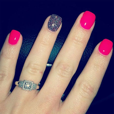 Hot Pink and Glitter Nails, Nail Pink Ring Nails