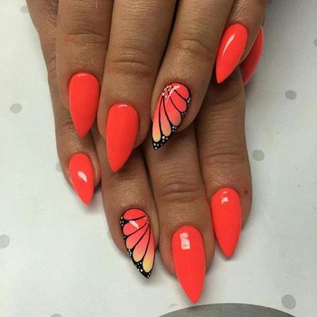 Butterfly Nail Design on Orange Nails, Nail Summer Manicure Nails