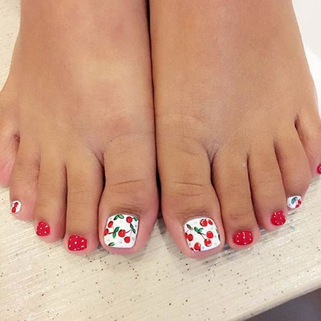 Nail Toe Design with Cherry, Toe Nail Red Toes