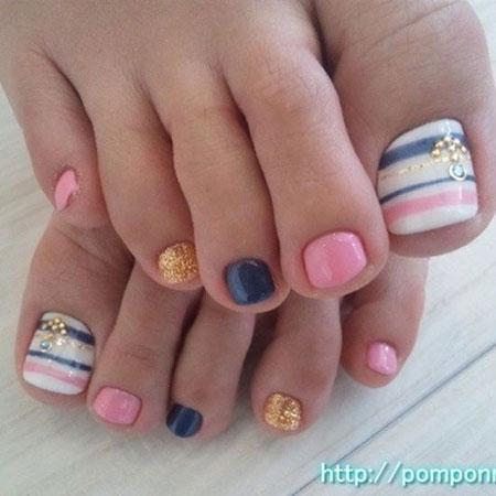 Toes Nail Summer Navy